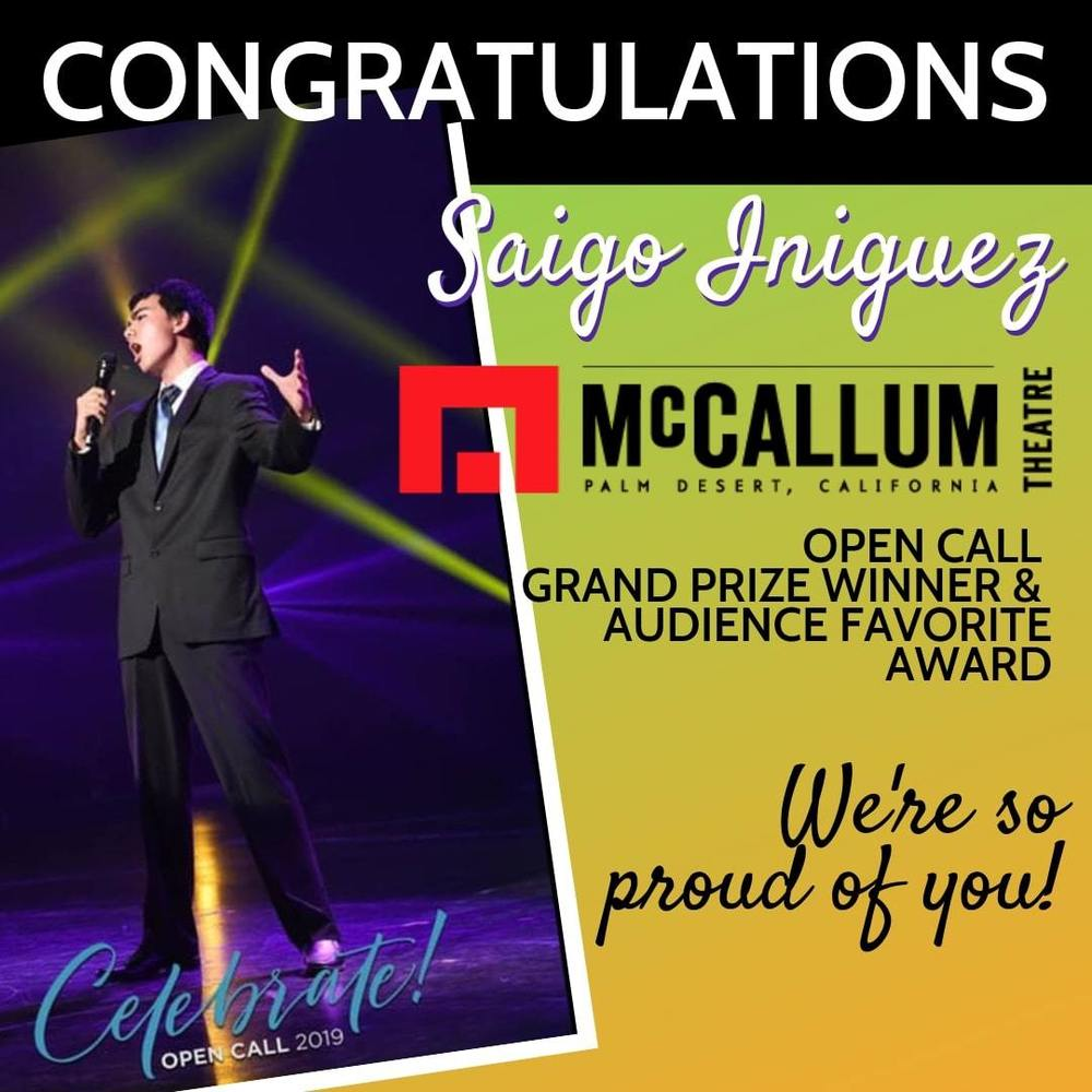 Congratulations to Saigo Iniguez