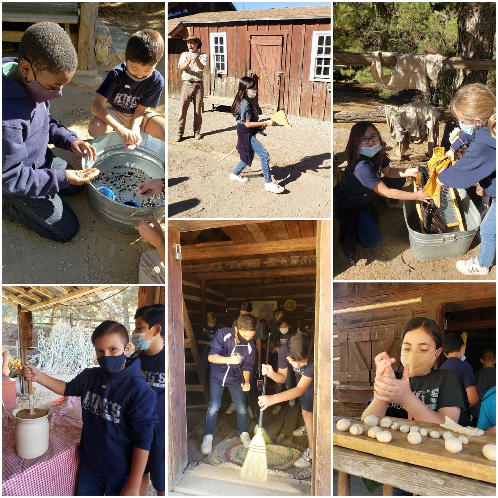 Children completing tasks at Riley's Farm.